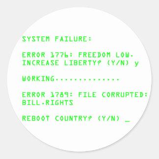 Fallo del sistema: ERROR 1776 Etiqueta Redonda