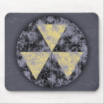"""Fallout Shelter-cl-dist Mouse Pad<br><div class=""""desc"""">Grungy fallout shelter symbol,  black/yellow over purple,  heavily distressed. On t-shirts,  sweatshirts,  buttons,  gifts.</div>"""