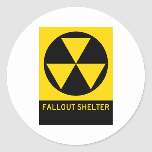 Fallout Shelter Highway Sign Round Sticker