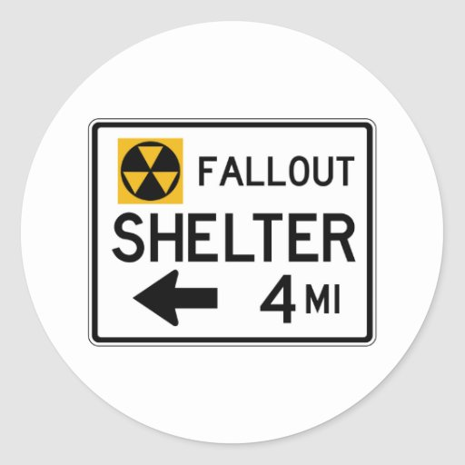 Fallout Shelter Street Sign Round Sticker