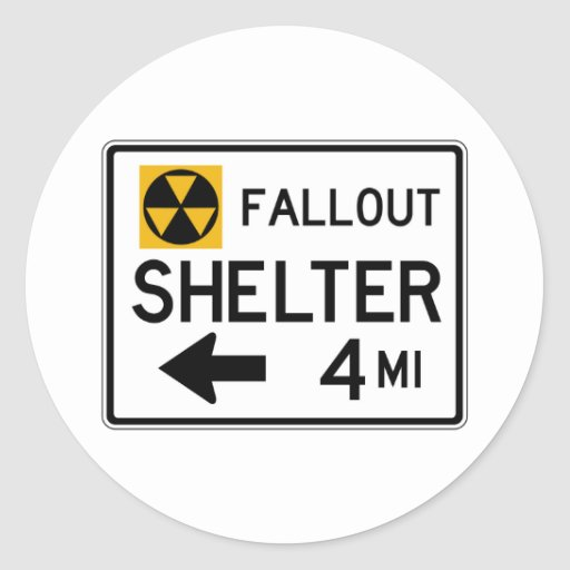 Fallout Shelter Street Sign Round Stickers