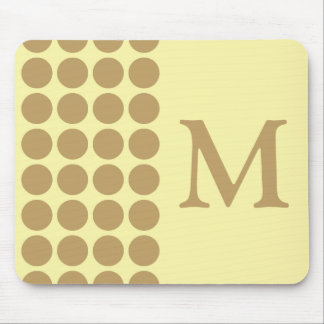 Fallow Cream Neutral Dots with monogram Mouse Pad
