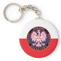 Falls City Round Polish Texan Keychain