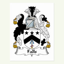 Falls Family Crest Postcard