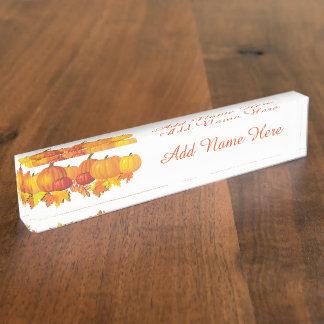 Fall's Pumpkins Nameplate