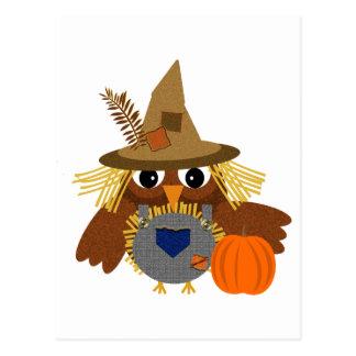 Fally the Adorable Scarecrow Owl Postcard