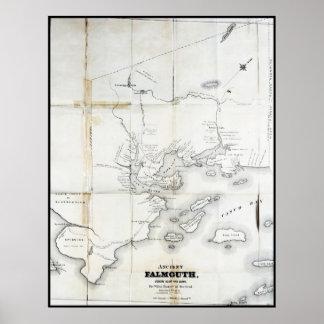 Falmouth antiguo a partir de 1630 a 1690 póster