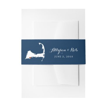 Falmouth Blue Cape Cod Map with heart | Wedding Invitation Belly Band