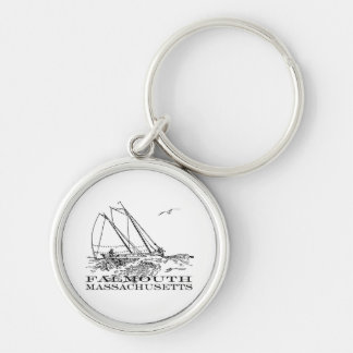 Falmouth by the Sea Silver-Colored Round Keychain