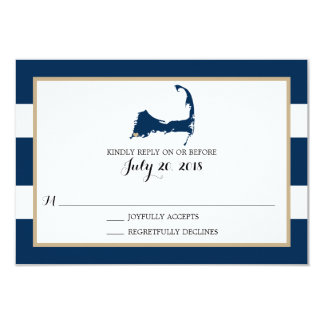 Falmouth Cape Cod with heart   Wedding RSVP Card