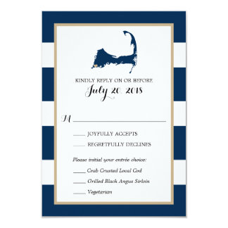 Falmouth Cape Cod with heart | Wedding RSVP menu Card