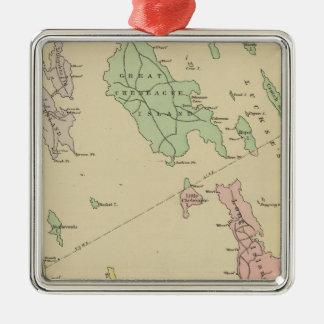 Falmouth Foreside, islas adyacentes, bahía de Adorno Navideño Cuadrado De Metal