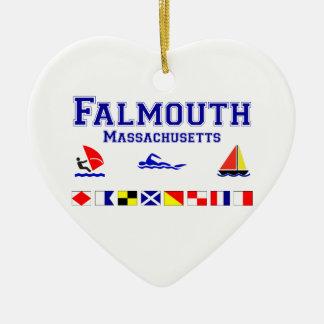 Falmouth MA Signal Flag Ceramic Ornament