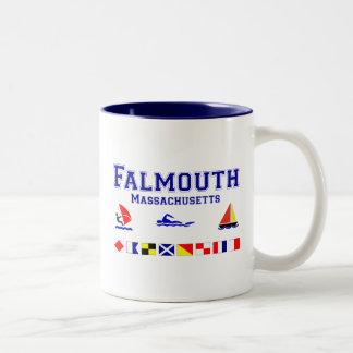 Falmouth MA Signal Flag Two-Tone Coffee Mug