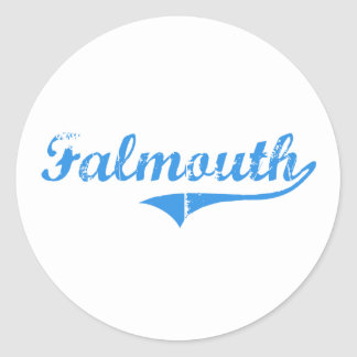 Falmouth Maine Classic Design Round Stickers