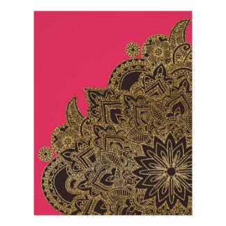 "Falsa alheña de moda linda de la flor del brillo folleto 8.5"" x 11"""