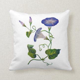 Falsa almohada azul bordada de la correhuela
