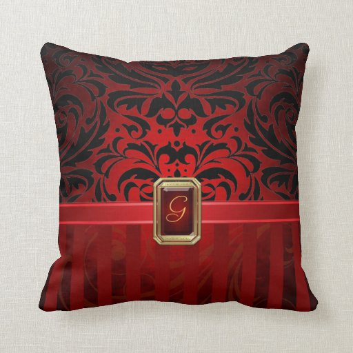 Falsa almohada de la joya de la tela a rayas roja