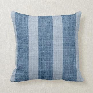 Falsa almohada de lino de la raya ancha azul del d