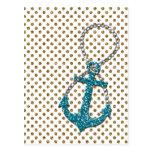 Falsa ancla náutica impresionante del azul de pavo postal