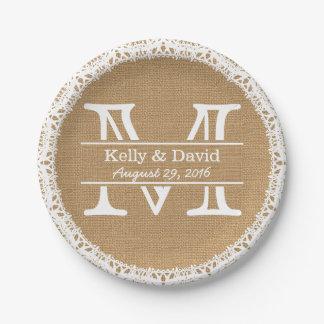 Falsa arpillera del monograma y boda rústico del platos de papel