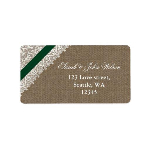 FALSA arpillera del verde esmeralda, etiqueta del  Etiquetas De Dirección