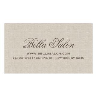 Falsa arpillera elegante rústica tarjetas de visita
