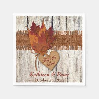 FALSA arpillera, madera, hojas, servilletas del Servilletas Desechables