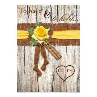 FALSA arpillera, madera, invitación del boda del Invitación 12,7 X 17,8 Cm