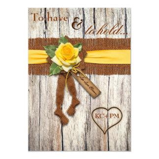 FALSA arpillera, madera, invitación del boda del