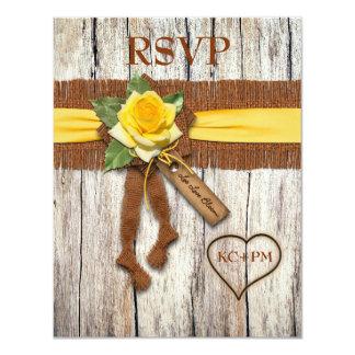 FALSA arpillera, madera, tarjeta de contestación Invitación 10,8 X 13,9 Cm