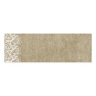 Falsa arpillera y cordón tarjetas de visita mini