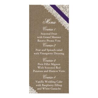 FALSA arpillera y tarjetas púrpuras del menú del b Diseño De Tarjeta Publicitaria