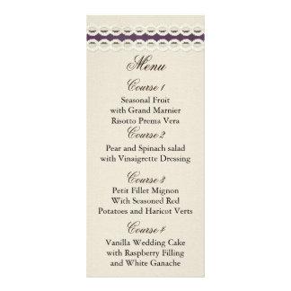 FALSA arpillera y tarjetas púrpuras del menú del b Lonas