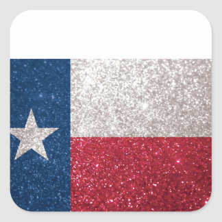 Falsa bandera de Tejas del brillo Calcomanía Cuadrada Personalizada
