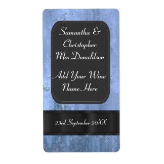 Falsa botella de vino azul del boda del metal etiquetas de envío
