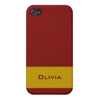 Falsa caja de cuero roja personalizada del iPhone  iPhone 4 Coberturas