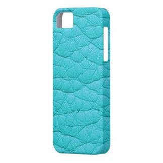 Falsa caja de cuero suave arrugada turquesa del iPhone 5 fundas