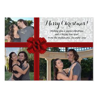 Falsa caja de regalo, navidad 3-Photo que saluda Invitación 12,7 X 17,8 Cm