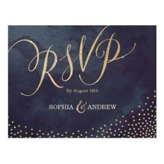 Falsa caligrafía RSVP del brillo del oro de la Postal