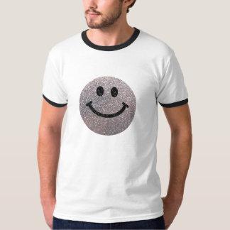 Falsa cara de plata del smiley del brillo camisas