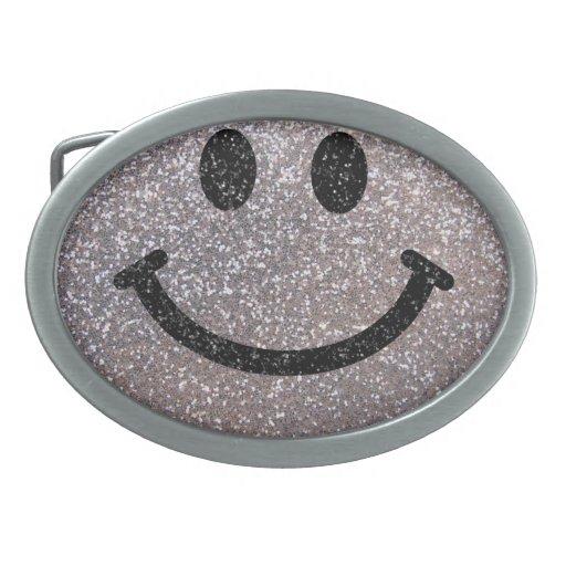 Falsa cara de plata del smiley del brillo hebillas de cinturon
