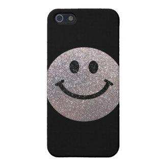 Falsa cara de plata del smiley del brillo iPhone 5 funda