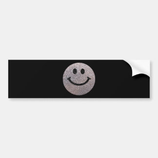 Falsa cara de plata del smiley del brillo pegatina para auto