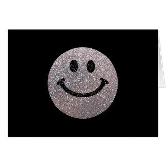 Falsa cara de plata del smiley del brillo tarjeta de felicitación