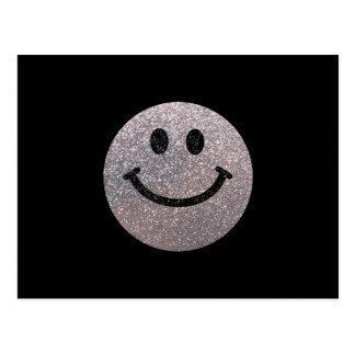 Falsa cara de plata del smiley del brillo tarjetas postales