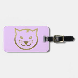 Falsa cara del gato del oro - color de fondo de etiquetas bolsas