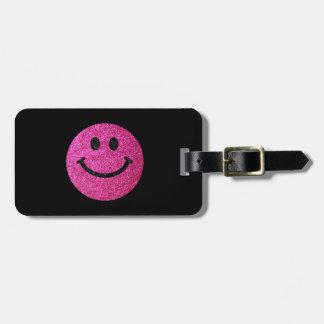 Falsa cara del smiley del brillo de las rosas etiquetas para equipaje