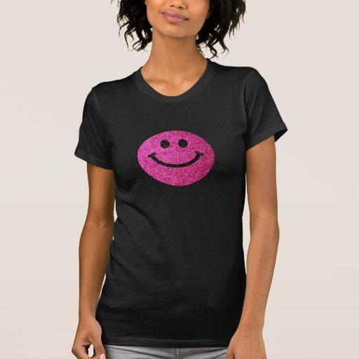 Falsa cara del smiley del brillo de las rosas fuer camiseta
