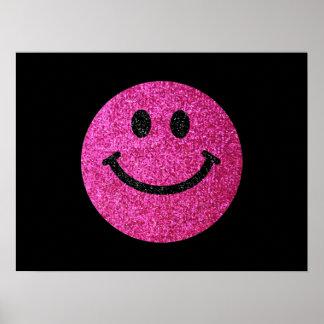 Falsa cara del smiley del brillo de las rosas póster